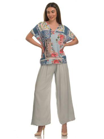 M MADE IN ITALY Γυναικείο πολύχρωμο μερσεριζέ μπλουζάκι V