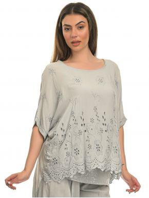 M MADE IN ITALY Γυναικεία ασημί αμπιγιέ μπλούζα νυχτερίδα 20/62474Ο