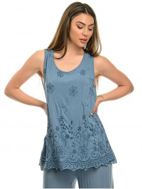 M MADE IN ITALY Γυναικείο μπλέ αμάνικο μπλουζάκι 15/63476O Jeans