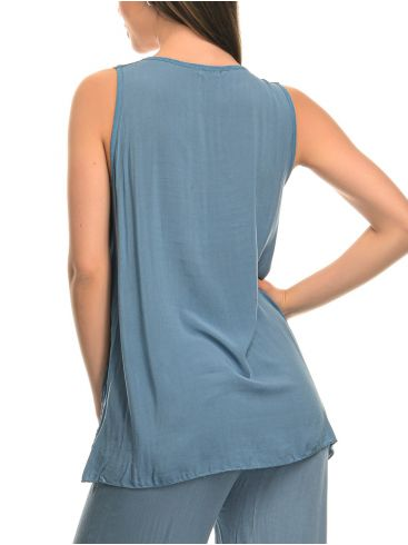 M MADE IN ITALY Γυναικείο μερσεριζέ μπλουζάκι V