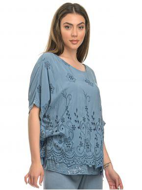 M MADE IN ITALY Γυναικεία τζίν αμπιγιέ μπλούζα νυχτερίδα, κεντημένη παγιέτα 20/62474Ο Jeans