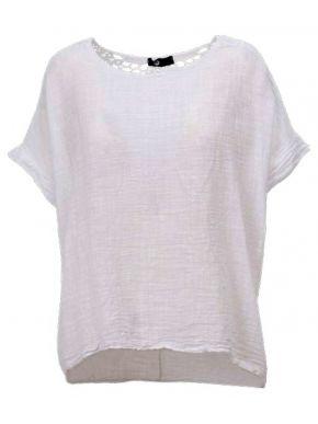 M MADE IN ITALY Γυναικείο λευκό λινό κοντομάνικο μπλουζάκι 10-2157O WHITE