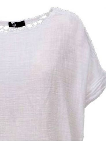 M MADE IN ITALY Γυναικείο λευκό κοντομάνικο μπλουζάκι. 10-2157Ο WHITE
