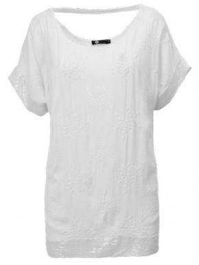 M MADE IN ITALY Γυναικείο λευκό κοντομάνικο μπλουζάκι. 10-2158O WHITE