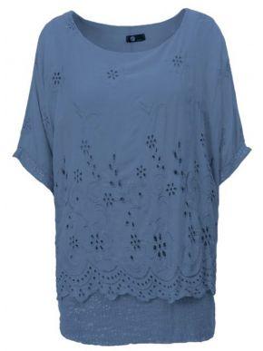 M MADE IN ITALY Γυναικεία μπλέ κοντομάνικη μπλούζα νυχτερίδα 20-63474O Jeans