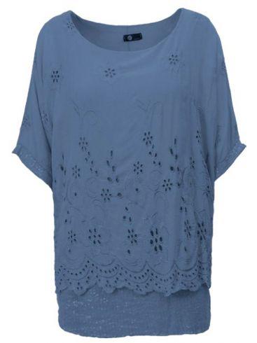 M MADE IN ITALY Γυναικείο μπλέ κοντομάνικο μπλουζάκι. 20-63474O JEANS