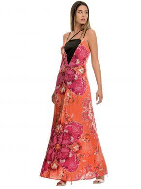 SARAH LAWRENCE Μακρύ φόρεμα, χιαστί ραντάκια, κοραλλί