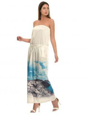 ZINO JORDAN Στράπλες σατέν λευκό φόρεμα