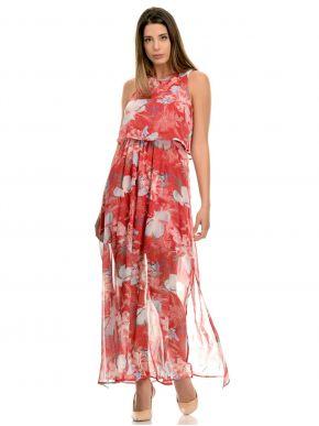 MisMASH Ισπανικό κοραλλί αμάνικο μακρύ φόρεμα, βολάν μπροστά