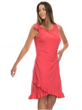 S.OLIVER Αμάνικο φούξια φόρεμα, βολάν στο τελείωμα.