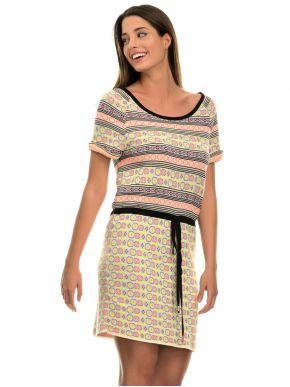 Γαλλικό πολύχρωμο πλεκτό κοντομάνικο φόρεμα