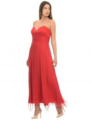 VICKY TRIMMY Χειροποίητο maxi αμπιγιέ μεταξωτό φόρεμα, Swarovski τιράντες