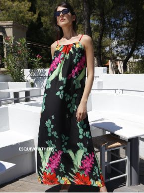 ESQUIVO Μακρύ πολύχρωμο φόρεμα, ραντάκ