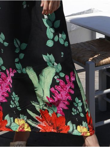 ESQUIVO Μακρύ γκρί αμπιγιέ κρουαζέ φόρεμα, βολάν