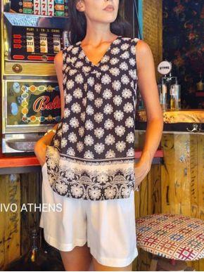 ESQUIVO Γυναικείο ασπρόμαυρο έθνικ αμάνικο μπλουζάκι