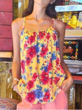 ESQUIVO Γυναικείο φλοράλ μπλουζάκι με τιραντάκι
