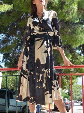 ESQUIVO Μακρύ μαύρο-εκρού αμπιγιέ κρουαζέ σατέν φόρεμα, βολάν