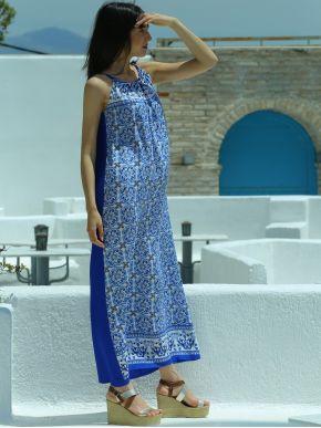 ESQUIVO Μακρύ μπλέ μακρύ αμάνικο φόρεμα, πλήρως μπλέ πίσω