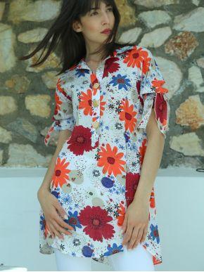 ESQUIVO Γυναικείο πολύχρωμη κοντομάνικη πουκαμίσα