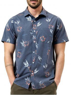 BASEHIT Ανδρικό κοντομάνικο μπλέ πουκάμισο 211.BM61.02 PR237-OFF-BLACK