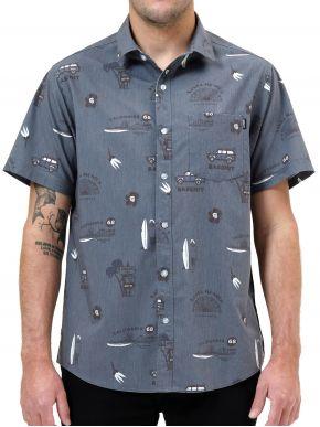 BASEHIT Ανδρικό κοντομάνικο πουκάμισο 211.BM61.02 PR241 EBONY