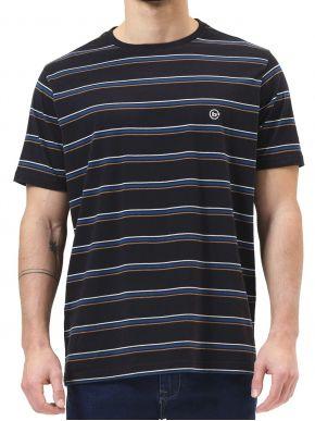 BASEHIT Ανδρικό ριγέ κοντομάνικο T-Shirt 211.BM33.82 PR209 OFF BLACK