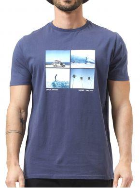 BASEHIT Ανδρικό μπλέ κοντομάνικο T-Shirt 211.BM33.67 Blue