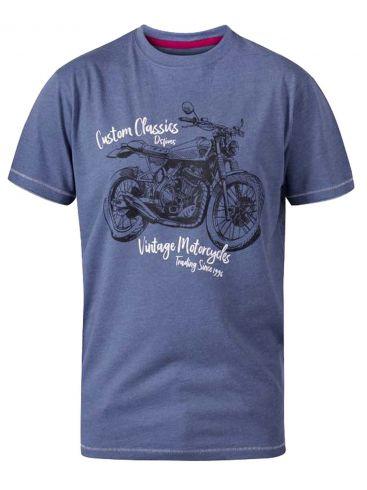 DUKE Ανδρικό μπλέ κοντομάνικoTshirt. D555 CONOR 600938.