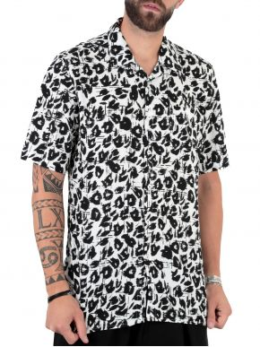 More about STEFAN Ανδρικό ασπρόμαυρο animal print κοντομάνικο πουκάμισο. 9523 Type