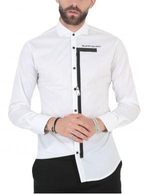 STEFAN Ανδρικό λευκό μεσάτο μακρυμάνικο μεσάτο πουκάμισο