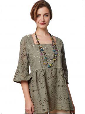 ANNA RAXEVSKY Γυναικεία λαδί κηπούρ μπλούζα B21103 CHAKI