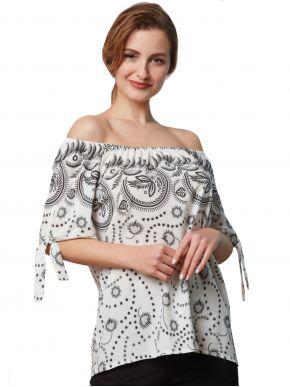 ANNA RAXEVSKY Γυναικεία ασπρόμαυρη εμπριμέ μπλούζα B21109