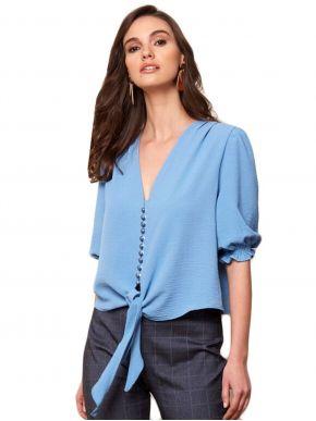 ANNA RAXEVSKY Γυναικείο crop top πουκάμισο Z21110 Ltblue