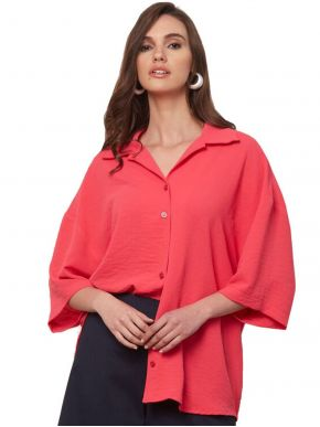 ANNA RAXEVSKY Γυναικείο φούξια oversize πουκάμισο Z21104 FUXIA