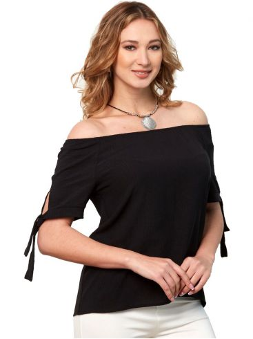 ANNA RAXEVSKY Γυναικεία μαύρη μπλούζα B21105 BLACK