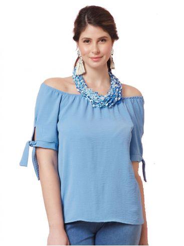 ANNA RAXEVSKY Γυναικεία γαλάζια μπλούζα B21105 LTBLUE