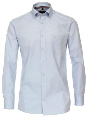 CASA MODA Ανδρικό γγαλάζιο ψιλό καρό πουκάμισο (έως 7XL)