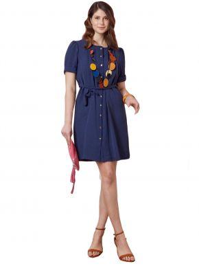 ANNA RAXEVSKY Γυναικείο μπλέ φόρεμα σεμιζιέ D21104 BLUE