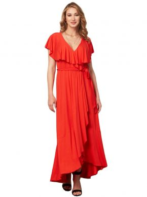 ANNA RAXEVSKY Γυναικείο κοραλλί μάξι ασύμετρο ελαστικό φόρεμα D21112 CORAL