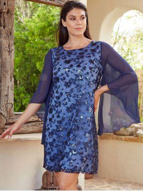 More about ANNA RAXEVSKY Γυναικείο μπλέ ολοκέντητο μίντι φόρεμα D20118