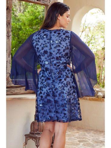 ANNA RAXEVSKY Γυναικείο μάξι μπλέ midi φόρεμα D21114 BLUE