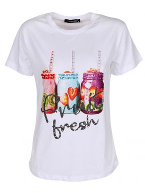 OQOSH Γυναικείο λευκό μπλουζάκι T-Shirt, τύπου Swarovsky