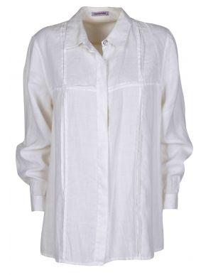 RAXEVSKY Γυναικείο λευκό μακρυμάνικο πουκάμισο
