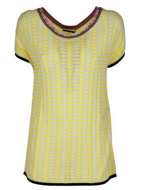 Γυναικείο κίτρινο πλεκτό μπλουζάκι