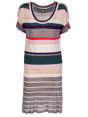 Πολύχρωμο πλεκτό κοντομάνικο φόρεμα