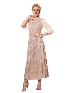 ANNA RAXEVSKY Γυναικείο ρόζ ολοκέντητο μάξι φόρεμα D19114 PINK