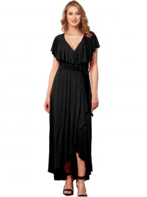 ANNA RAXEVSKY Γυναικείο μαύρο μάξι ασύμμετρο ελαστικό φόρεμα με κρουαζέ μπούστο D21112 BLACK