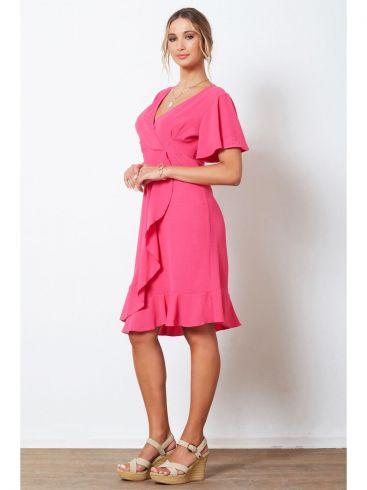 ANNA RAXEVSKY Γυναικείο πετρόλ φόρεμα με κρουαζέ μπούστο DF21136 PETROL