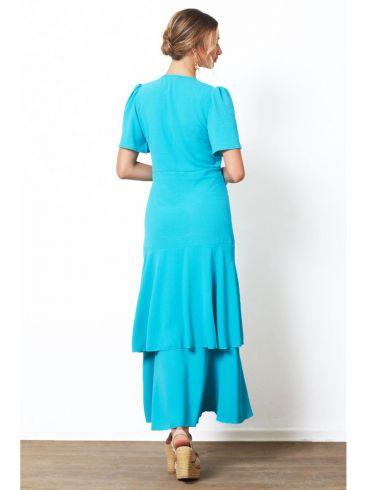 ANNA RAXEVSKY Γυναικείο εμπριμέ κοντομάνικο φόρεμα από μουσελίνα DF21103