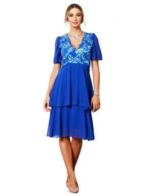 ANNA RAXEVSKY Γυναικείο μπλε κρουαζέ φόρεμα DF21131